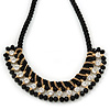 Statement Black Glass Bead, Clear Crystal Silk Black Cord Necklace - 42cm L/ 7cm Ext