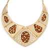 Egyptian Style V-Shape Station Necklace In Gold Tone - 40cm L/ 8cm Ext