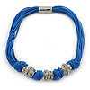 Chunky Multistrand Blue Waxed Cord with Silver Tone Rings Necklace, with Magnetic Closure - 42cm L