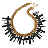 Statement Black Multi Cross, Hematite Crystal Chunky Chain Necklace In Gold Plating - 45cm L/ 8cm Ext