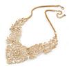 Statement Filigree V Shape Necklace In Gold Tone Metal - 46cm L/ 8cm Ext