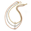 3 Strand Mesh Layered Necklace with Crystal Rings In Gold/ Rose Gold/ Silver Tone - 54cm L/ 4cm Ext