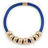 Blue Silk Cord With Gold Rings Magnetic Choker Necklace - 42cm L