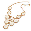 Statement V-Shape Structural Iridescent Glass Bead Necklace In Gold Tone - 48cm L/ 5cm Ext/ 10cm Bib