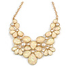 AB Resin Stone and White Peal Floral Bib Necklace In Gold Tone - 42cm L/ 8cm Ext