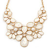 AB Glass Stone and White Peal Floral Bib Necklace In Gold Tone - 42cm L/ 8cm Ext