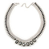 Statement Light Silver Mesh Chain Clear Crystal, Grey Glass Stone Necklace - 40cm L/ 7cm Ext