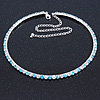 Thin Light Blue/ Clear Austrian Crystal Choker Necklace In Rhodium Plated Metal - 33cm L/ 16cm Ext
