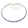 Thin Sapphire Blue/ Clear Austrian Crystal Choker Necklace In Rhodium Plated Metal - 33cm L/ 16cm Ext