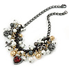 Statement Bead Charm Chunky Chain Necklace In Black Tone - 45cm L