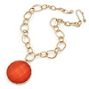 Salmon Red Glass Medallion Pendant with Hammered Chunky Chain In Gold Tone - 43cm L/ 7cm Ext