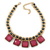 Statement Square Raspberry Pink Glass Station, Black Glass Bead With Gold Tone Chunky Chain Necklace - 44cm L/ 9cm Ext