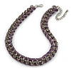 Statement Chunky Chain with Lavender Velour Ribbon, Grey Crystal Necklace In Silver Tone - 39cm L/ 8cm Ext