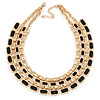 Gold Plated Black Enamel Collar Necklace - 42cm L/ 7cm Ext