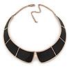 Statement Black Enamel Collar Choker Necklace In Gold Plating - 40cm L/ 7cm Ext