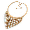 Egyptian Style Clear Crystal Bib Bar Choker Necklace In Brushed Gold Tone - 40cm L/ 7cm Ext