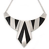 Statement Structural Bib Style Necklace In Silver Tone with Black Enamel - 42cm L/ 6cm Ext