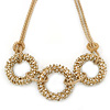 Statement Crystal Triple Ring Mesh Chain Choker Necklace In Gold Plated Metal - 43cm L/ 8cm Ext