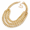 Gold Tone Layered Curb Link Necklace - 38cm L/ 8cm Ext