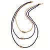 3 Strand, Beaded, Layered Mesh Chain Necklace In Black/ Purple/ Gold Tone - 86cm L