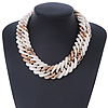 Chunky White/ Gold Acrylic Link Necklace - 47cm L