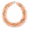 Chunky Pale Salmon/ Gold Acrylic Link Necklace - 47cm L