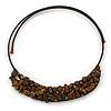 Brown Semiprecious Stone Collar Flex Wire Choker Necklace - Adjustable