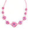 Children's Pink Floral Necklace with Silver Tone Closure - 36cm L/ 6cm Ext