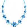 Children's Blue Floral Necklace with Silver Tone Closure - 36cm L/ 6cm Ext