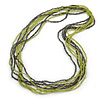 Long Multistrand Light Green/ Grey Glass Bead Necklace - 90cm L