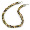 Chunky Multistrand Glass Bead Twisted Necklace with Silver Tone Closure (Olive, Metallic Grey, Antique White) - 45cm L