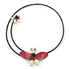 Shell Butterfly and Freshwater Pearl Flower Flex Wire Choker Necklace - Adjustable