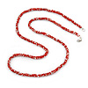 Multistrand Twisted Red/ White Glass Bead Long Necklace - 112cm L
