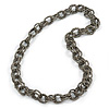 Chunky Oval Link Metallic Grey Glass Bead Long Necklace - 100cm L