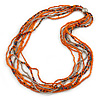 Multistrand Orange/ Metallic Silver Glass Bead Long Necklace - 74cm L
