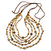 Long Multistrand, Layered Dark Brown, Golden Brown Sea Shell Bead Necklace with Suede Cord - Adjustable - 72cm/ 110cm L