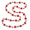 Long Red/ Transparent Glass Bead Necklace - 104cm L