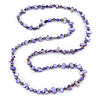 Long Purple Shell Nugget and Glass Crystal Bead Necklace - 110cm L