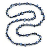 Long Dark Blue Shell Nugget and Glass Crystal Bead Necklace - 110cm L