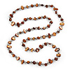 Long Brown Shell Nugget and Transparent Glass Crystal Bead Necklace - 110cm L