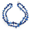 Two Row Blue Shell And Glass Bead Necklace - 44cm L/ 6cm Ext