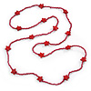 Long Raspberry Red Glass Bead, Ceramic Star Necklace - 106cm L