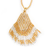 Gold/ White Glass Bead Tassel Pendant with Gold Bead Chain - 62cm Chain/ 7cm Pendant