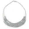 Silver Tone Multistrand Wire Necklace with Metallic Silver Acrylic Beads - 52cm L