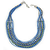 Multistrand Blue/ Teal Glass Bead Collar Style Necklace In Silver Tone Metal - 42cm L/ 4cm Ext