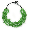 Grass Green Glass Nuggets With Black Cords Necklace - 50cm L
