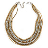 Multistrand Bronze/ Metallic Silver/ Transparent Glass Bead Collar Style Necklace In Silver Tone Metal - 42cm L/ 4cm Ext