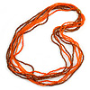 Frosted Bright Orange/ Brown Multistrand Glass Bead Long Necklace - 86cm L