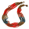 Multistrand Red/ Bronze/ Peacock Glass Bead Necklace - 47cm L