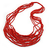 Brick Red Wood, Glass Bead Multistrand Necklace - 88cm L